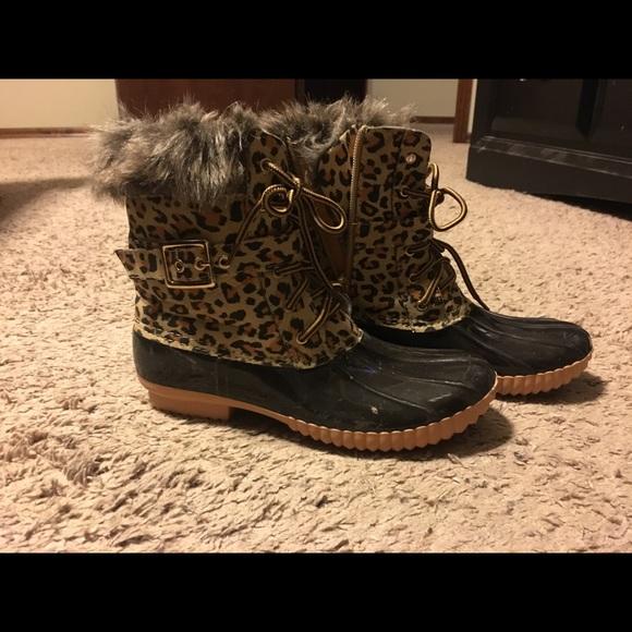 Shoes Shoes   Leopard Duck Boots   Poshmark